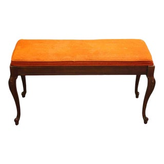 Orange Crushed Velvet Cushioned Piano Bench For Sale