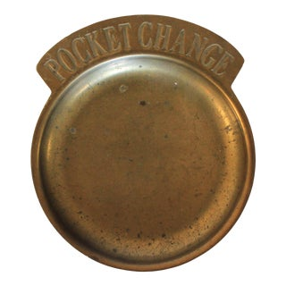 Vintage Brass Pocket Change Tray For Sale