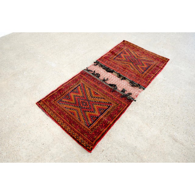 """Red Antique Balochistan Wool Tribal Saddlebag Rug - 1'8"""" x 3'8"""" For Sale - Image 8 of 12"""