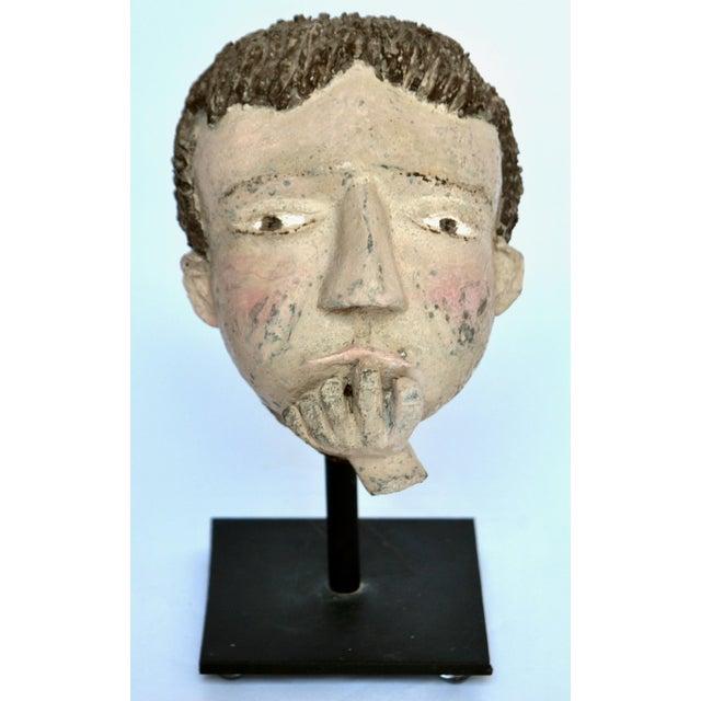 Americana Americana Folk Sculpture Cement Head For Sale - Image 3 of 7