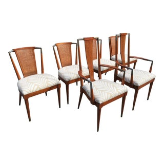Mid-Century Cane Back Dining Chairs- Set of 6 For Sale