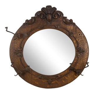 Arts and Crafts Oak Round Wall Mirror and Hat Rack For Sale