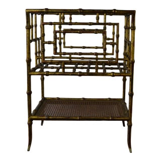 Hollywood Regency Fax-Bamboo Metal Magazine Rack For Sale