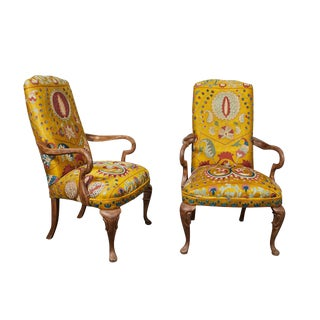 Pair of Yellow Embroidered Silk Queen Ann Style Arm Chairs For Sale