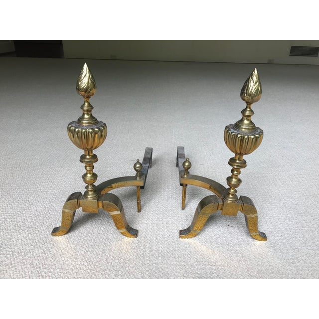 Gold 20th Century Federal Brass & Iron Andirons - a Pair For Sale - Image 8 of 8