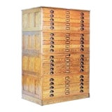 Image of Vintage Hamilton Wooden Flat File Storage Cabinet For Sale