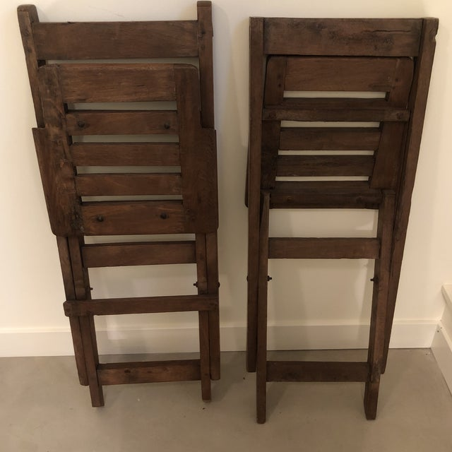 Antique Wood Folding Chairs - a Pair For Sale - Image 4 of 6