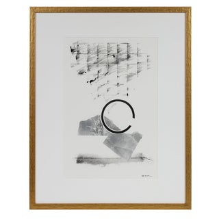 Abstract Black and White Monotype Print on Paper For Sale
