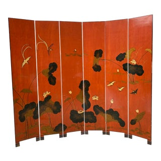 1970s Chinoiserie Asian Orange Wood Screen For Sale