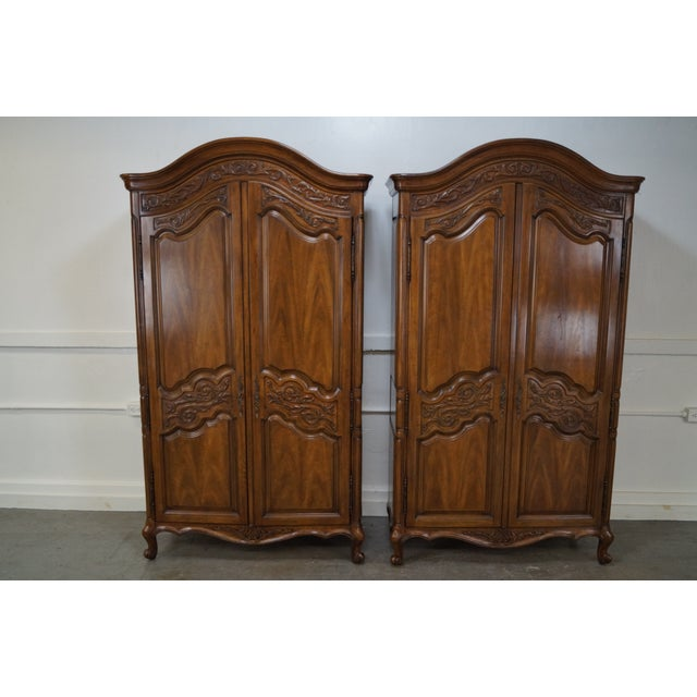Vintage French Louis XV Style Armoires - Pair - Image 2 of 10