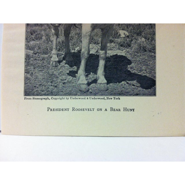 """Realism 1919 """"President Roosevelt on a Bear Hunt"""" Theodore Roosevelt Print on Paper For Sale - Image 3 of 4"""