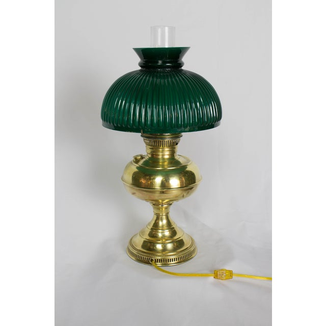 Brass Rayo Oil Student Lamp. Traditional oil Lamp Style. Electrified, and newly rewired. Complete with chimney and glass....
