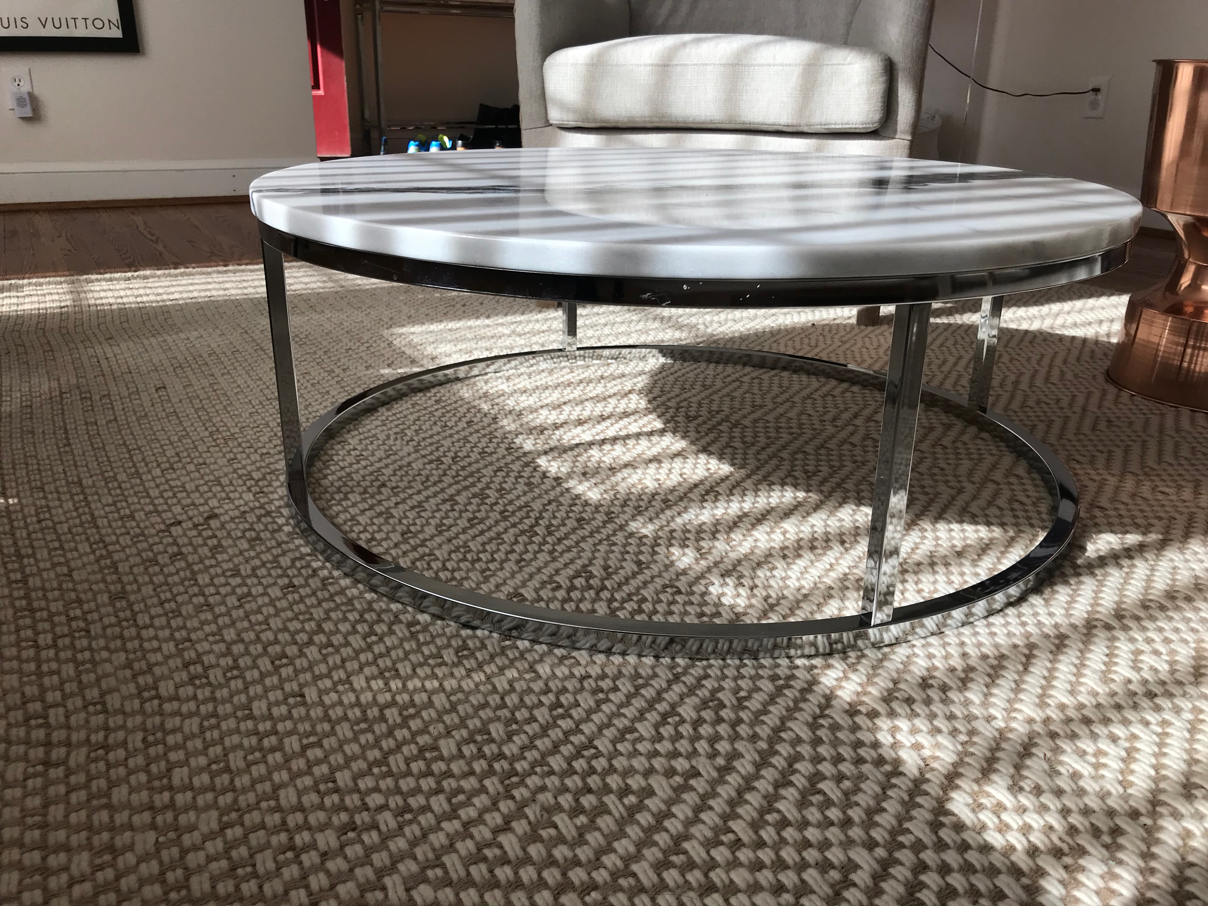 Cb2 Smart Round Marble Top Coffee Table   Image 3 Of 3