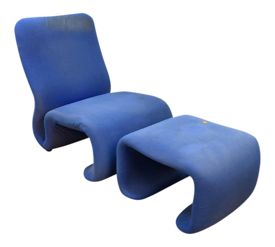 Sculptural Swedish Chair And Ottoman In The Style Of The Etcetera Chair Jan  Ekselius