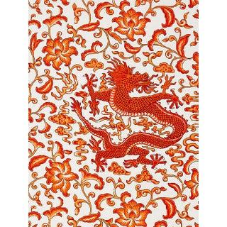 Scalamandre Chi'En Dragon Linen Print, Persimmon Fabric Preview
