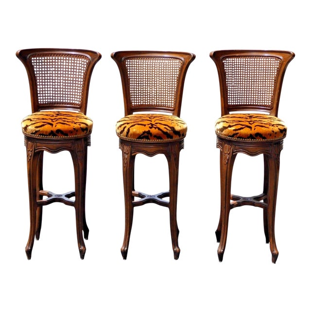 Vintage French Country Wood & Cane Barstools - Set of 3 - Image 1 of 11