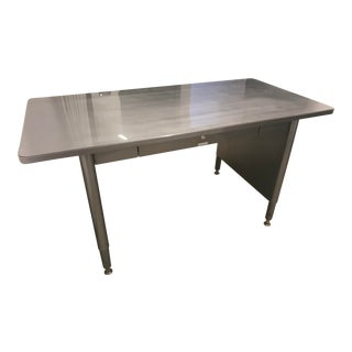 McDowell and Craig Natural Brushed Steel Panel Leg Desk