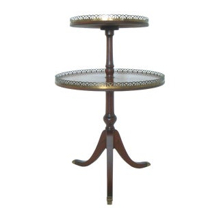 Antique Ferguson Two-Tier Mahogany & Brass Galleried Side Table (Gallery) For Sale
