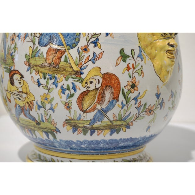 1870s French Yellow, Blue, Green, Red, White Majolica Jardinières / Planters - a Pair For Sale - Image 4 of 13