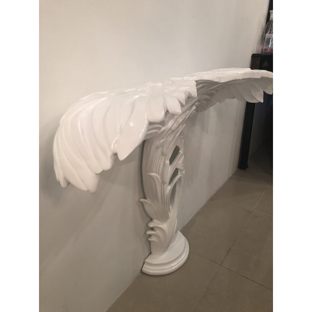 Glass Vintage Palm Frond Leaf White Lacquered Wall Console Table For Sale - Image 7 of 12