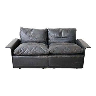 Vintage Black Leather Sofa by German Designer Dieter Rams For Sale