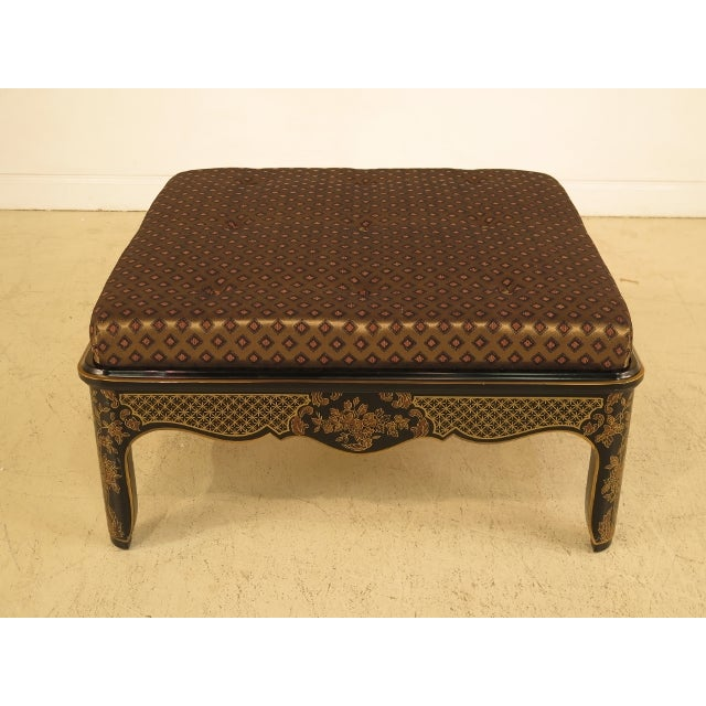 Large, square upholstered ottoman or bench featuring quality construction. This is large, impressive ottoman is...