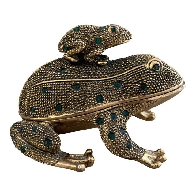 Bejeweled Gold Frog Paperweight and Desk Accessory Set For Sale