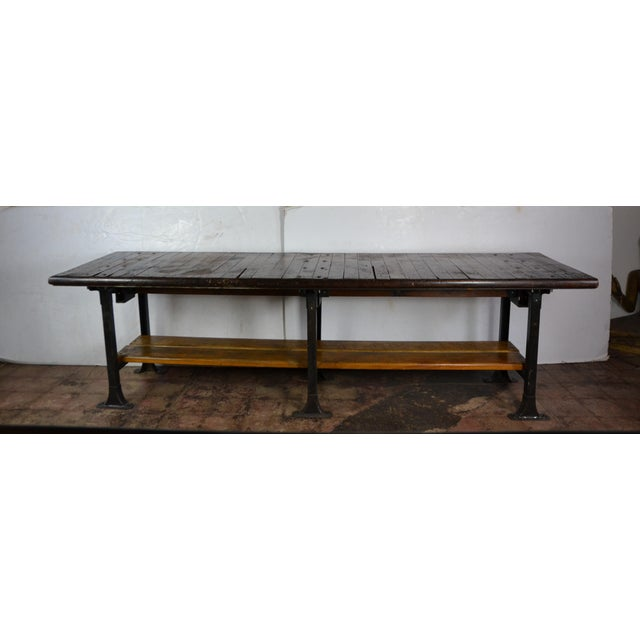 1950s Long Industrial Table 10 Ft. For Sale - Image 9 of 9