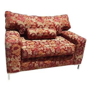 Red & Gold Upholstered Club Chair