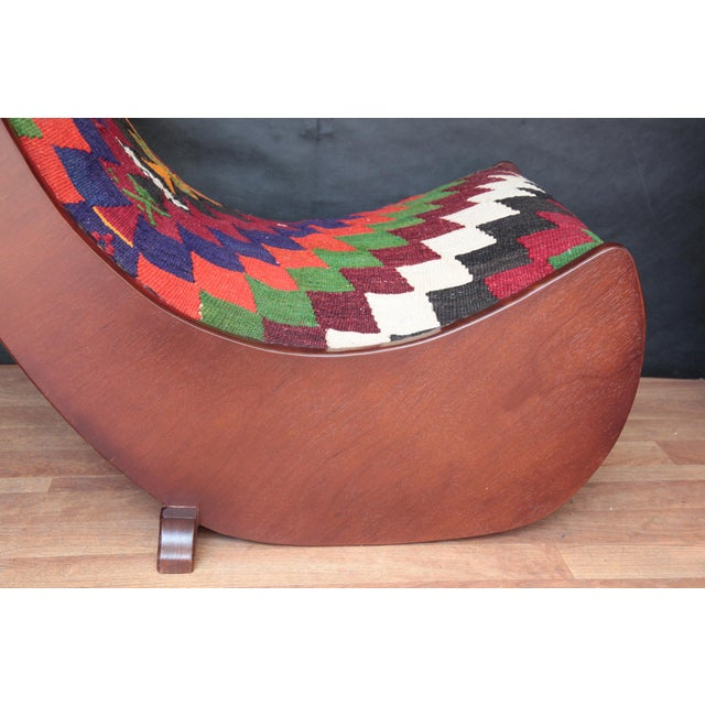 Wood Boho Chic Wood Folding Rocking Chair For Sale - Image 7 of 10