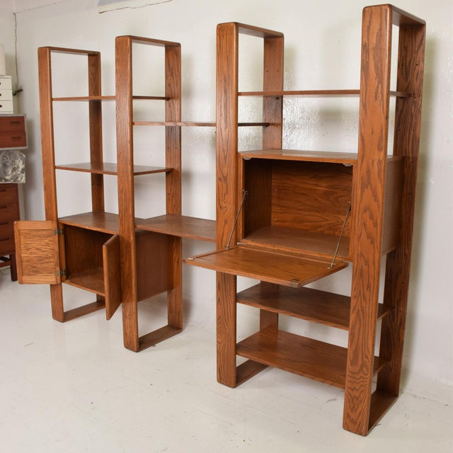 Mid Century Modern Solid Oak Wood Wall Unit by Lou Hodges For Sale In San Diego - Image 6 of 11