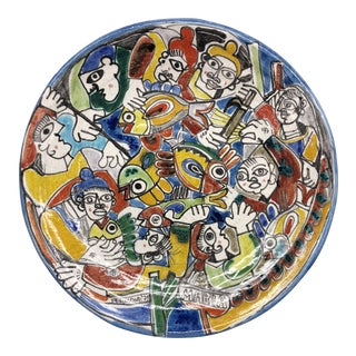 Mid-Century Modern Picasso Style Italian Desimone Wall Centerpiece Charger For Sale