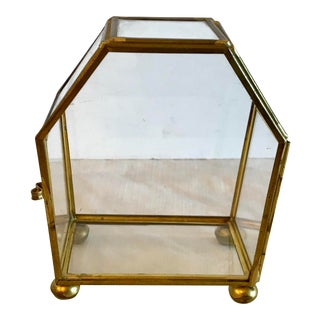 Vintage Glass and Brass Petite Curio Box For Sale