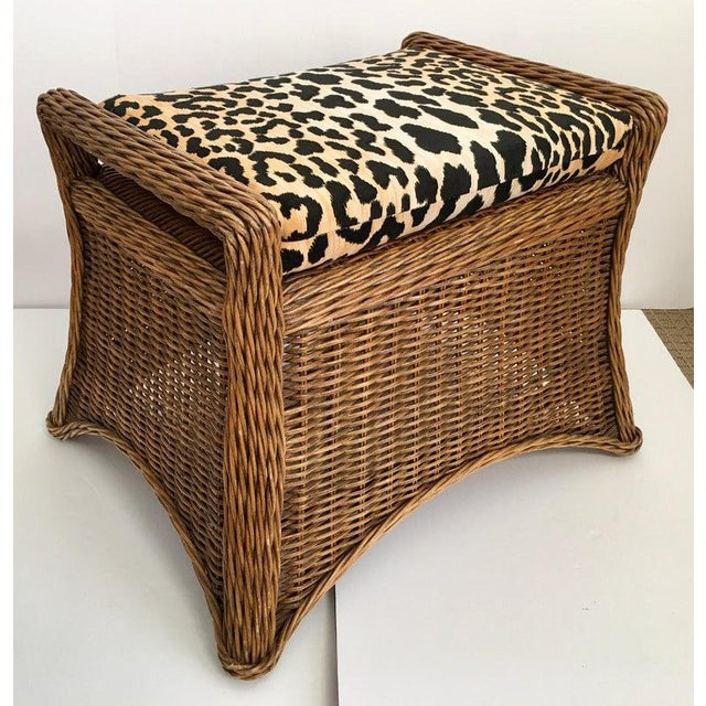 Traditional Sculptural Draped Wicker Bench With Animal Print Cushion For Sale - Image 3 of 9