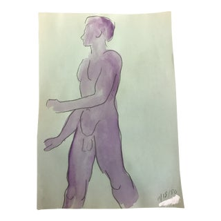 1980s James Bone Purple Male Nude Painting For Sale