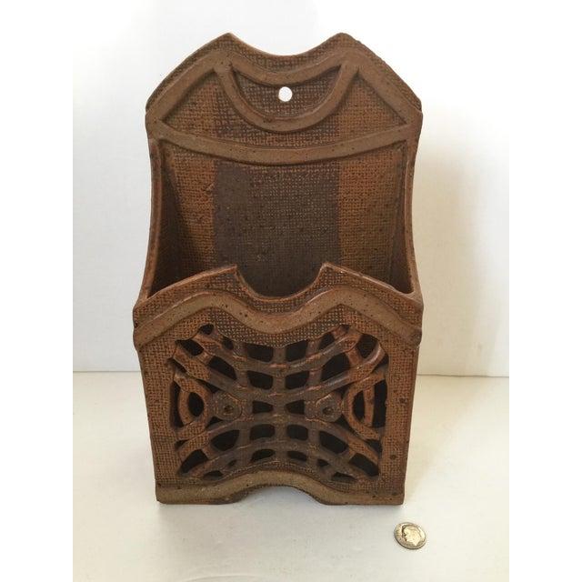 Mid Century Modern Artisan Ceramic Wall Pocket Artisan stonewear handmade wall pocket. Great for holding mail or...