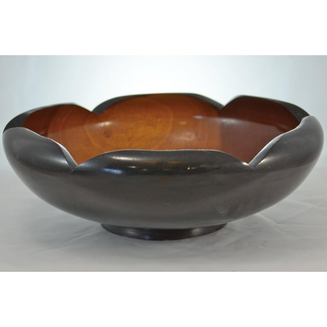 Mid-Century Modern Mid Century Carved Two-Tone Wood Bowl For Sale - Image 3 of 7