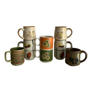 Eclectic Set of Eight Vintage Mugs Cups For Sale