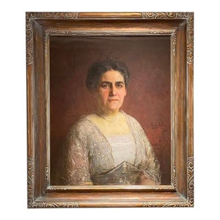 """Henry Mosler - 1914 """"Portrait of a Woman"""" Framed Oil Painting For Sale"""