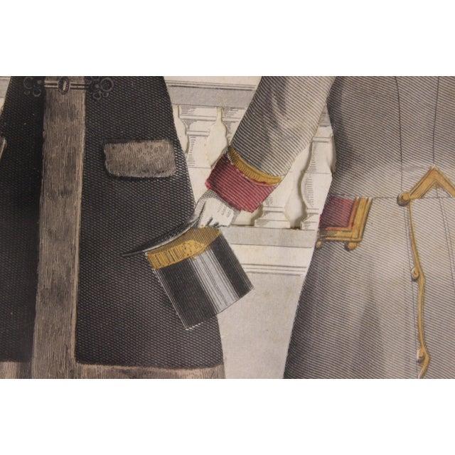 Dashing colour plate depicting four elegant Edwardian gentlemen in bespoke overcoats & top hats!~