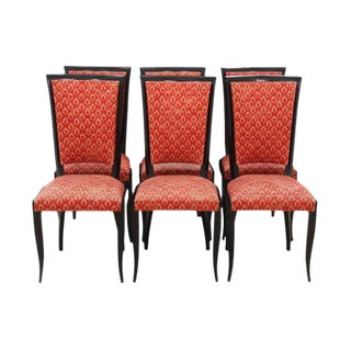 Flame Red Dining Chairs, S/6 For Sale
