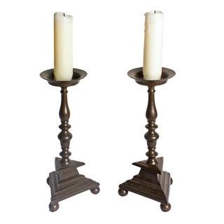 Antique Italian Bronze Candlesticks - A Pair For Sale