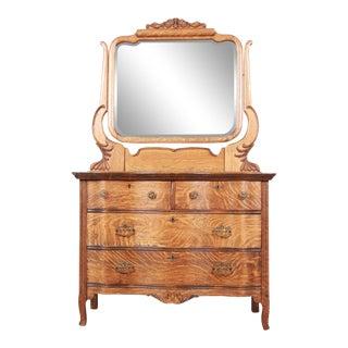Antique Carved Tiger Oak Dresser With Mirror, Circa 1900 For Sale