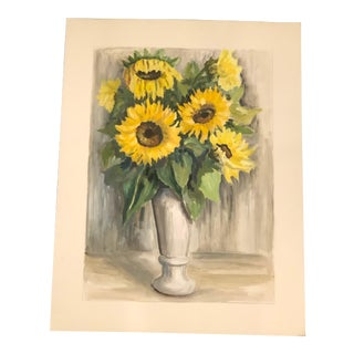 Original French Still Life of Sunflowers Watercolor Painting For Sale