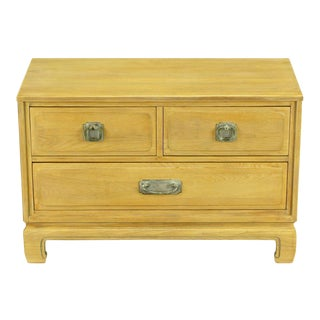 Asian Inspired Bleached & Cerused Petite Walnut Commode For Sale