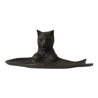 1980s Bronze Cat & Fish Pen Tray For Sale