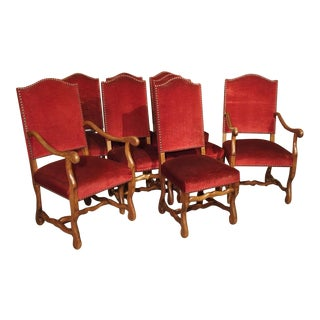 Set of 8 Antique Os De Mouton Dining Chairs With Square Peg Construction, Circa 1900 For Sale