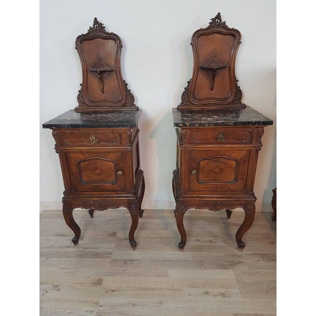 Louis XV 19th Century Italian Louis XV Rococò Style Wood Carved Bedroom Set For Sale - Image 3 of 13