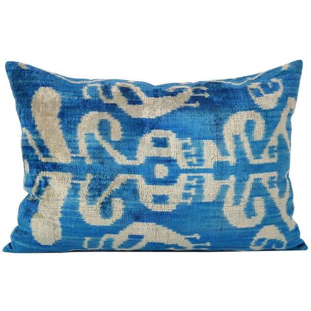 Handmade Soft Silk Velvet Ikat Pillow - Image 1 of 1