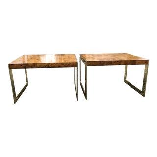 1970s Mid-Century Modern Olive Wood and Brass End Tables - a Pair For Sale